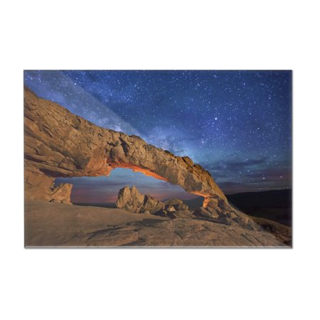 Grand Staircase Escalante National Monument, Utah - Arch under Milky Way - Lantern Press Photography (12x8 Acrylic Wall (Arch Acrylic Award)