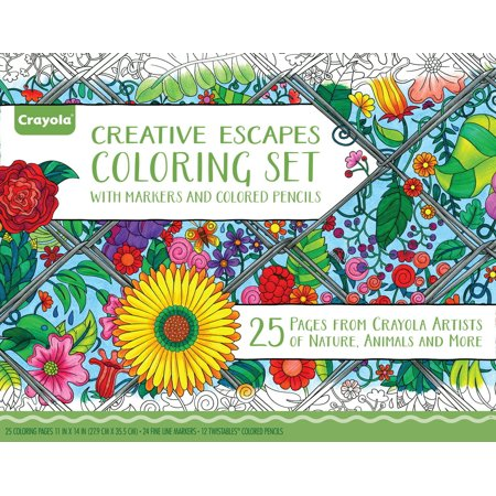 Crayola Creative Escapes Coloring Book Gift Set, 25 Sheets, 36 Coloring Tools