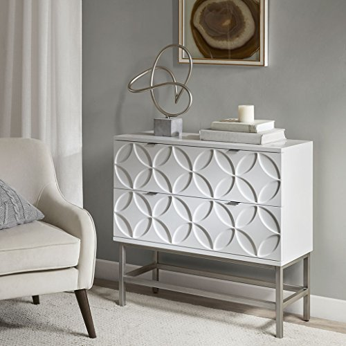 Accent Chest with 2 Drawers-Color:White,Size:See below