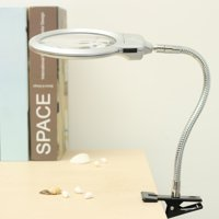 2.5X 5X Large Lens LED Lighted Lamp Top Desk Jewelry Magnifier Magnifying Glass Adjustable Gooseneck +Clamp