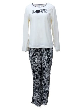 5c3d7e6fdd Product Image Celestial Dreams Womens Zebra Print Kitty Cat Love Pajamas  Fleece Pajama Set