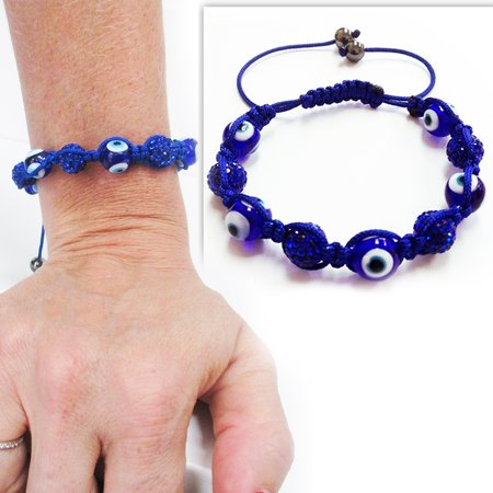12mm Evil Eye Macrame Good Luck Beaded Bracelet Adjustable Protection Gift Hamsa - Macrame Bracelet Instructions