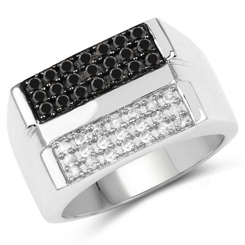 Dazyle 0.64 ct. Genuine Black Diamond and White Diamond S...