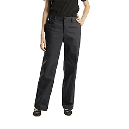 dickies women's wrinkle resistant flat front twill pant with stain release finish, black, 0 regular ()