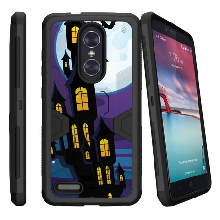 ZTE Zmax Pro Z981 Dual Layer Shock Resistant MAX DEFENSE Heavy Duty Case with Built In Kickstand - Haunted Mansion