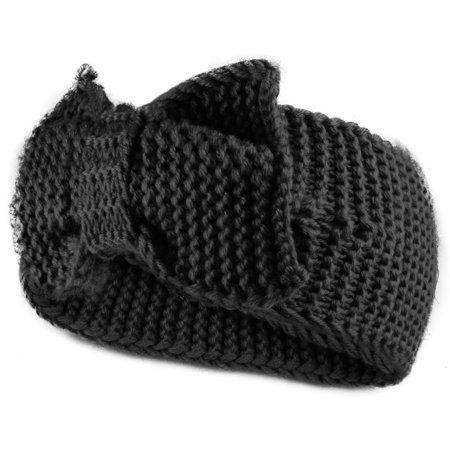 Enimay Women's Chunky Cable Knitted Turban Headband Ear Warmer Head Wrap Black One Size](Gray Cat Ears)