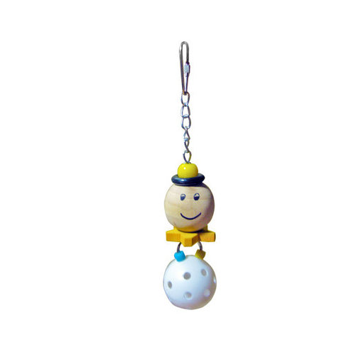 A&E Cage Co. Small Happy Face with Hanging Whiffle Ball Bird Toy (Set of 3)