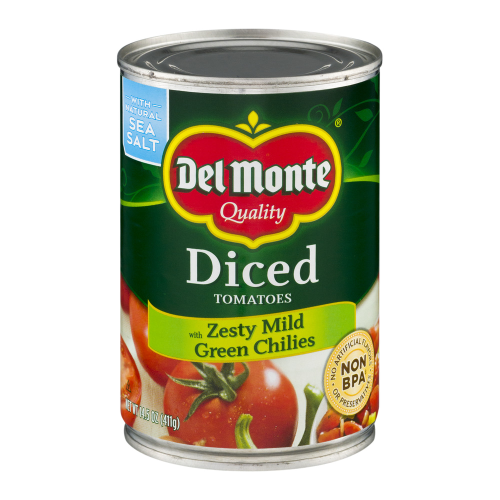 Del Monte Diced Tomatoes with Zesty Mild Green Chilies, 14.5 OZ