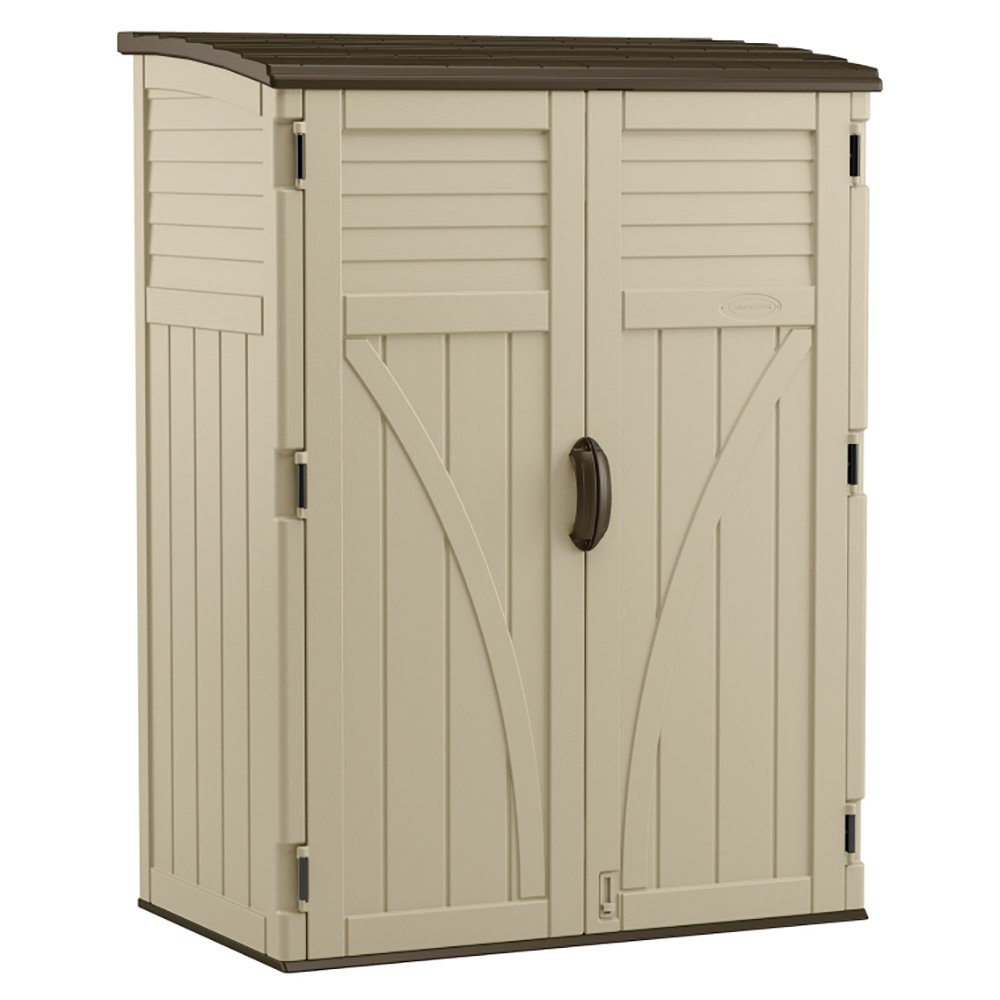 Suncast 54 Cubic Feet Durable Resin Vertical Storage Shed w/ Reinforced Floor
