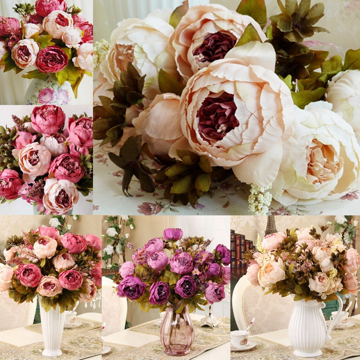 1 Bouquet Vintage Artificial Peony Silk furnitureampampampampdiy Flowers 6 Heads Bouquet Wedding Bridal Party Garden Decoration