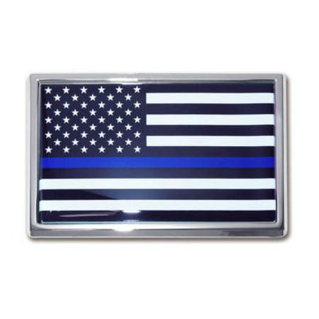 Police Flag Chrome Emblem
