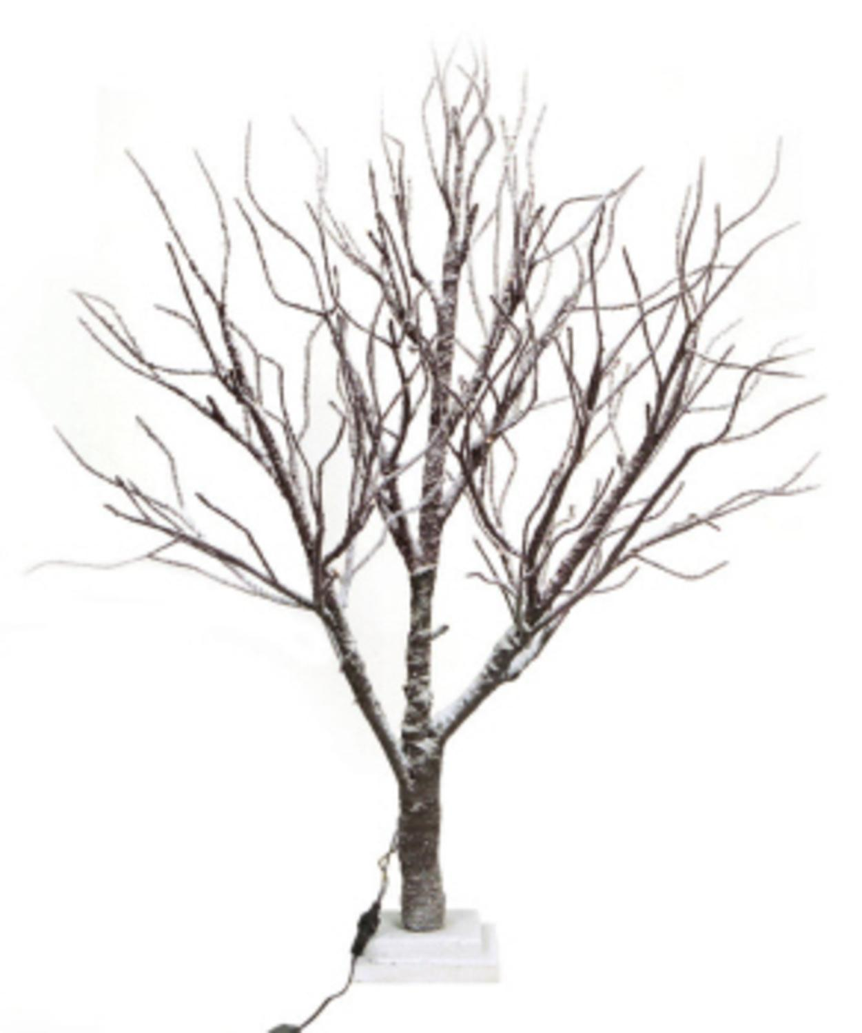 3 Led Lighted Frosted Brown Twig Tree Table Top Decoration