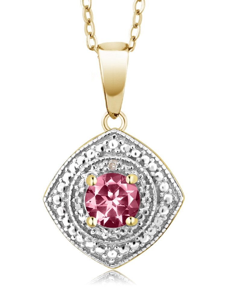 925 Yellow Gold Plated Silver Diamond Pendant Set with Topaz from Swarvoski by