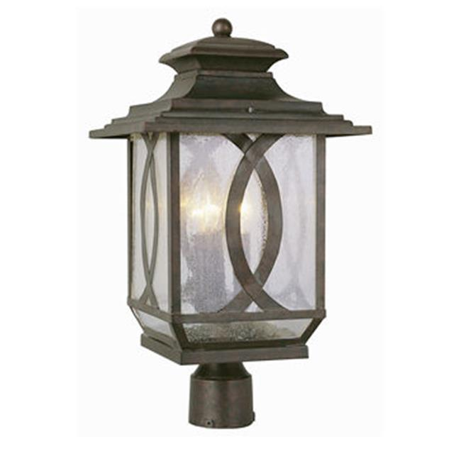 Trans Global Lighting 5194 BRT Estate 3 Light Large Outdoor Post Top - Burnished Rust