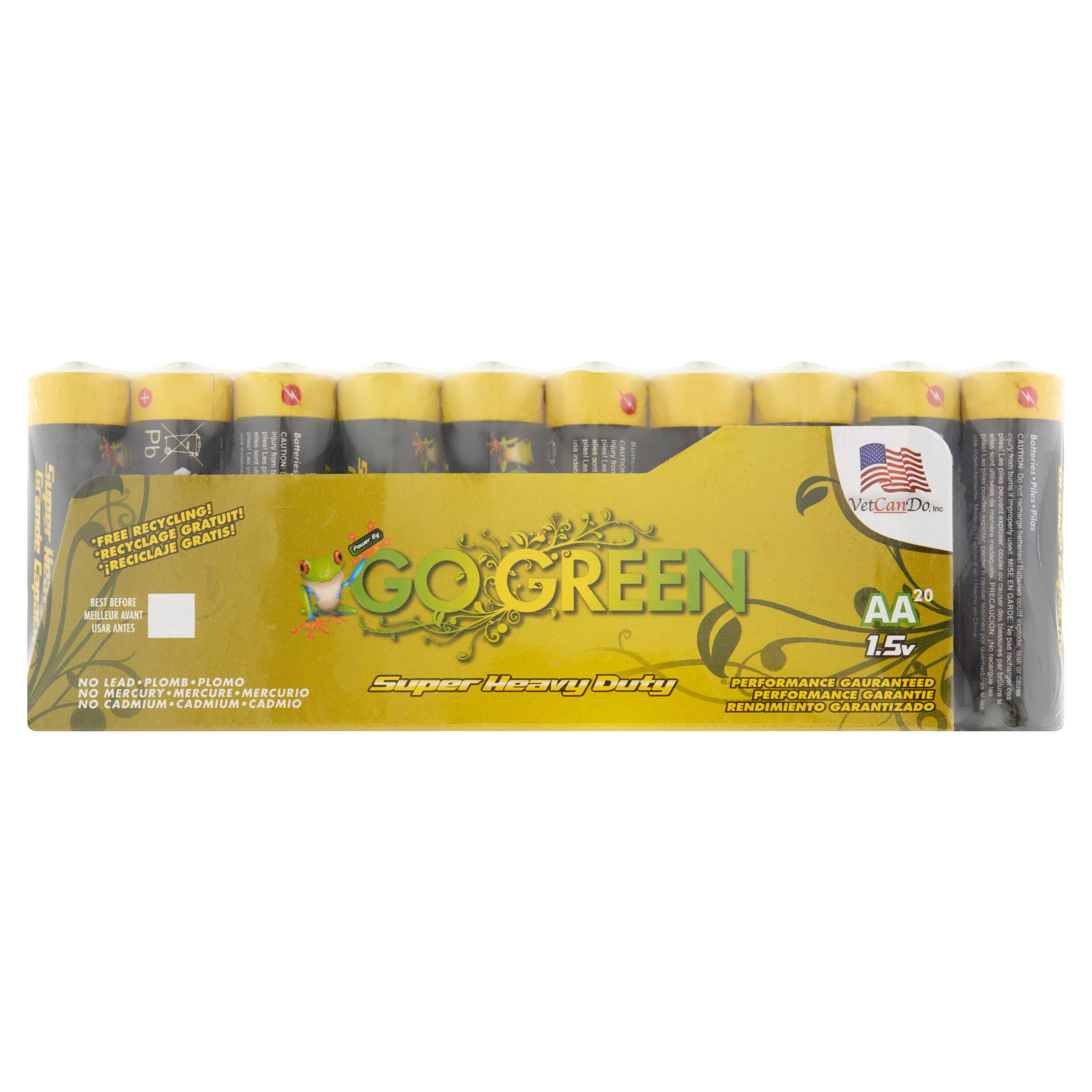 Go Green Heavy Duty AA Batteries, 20 Count