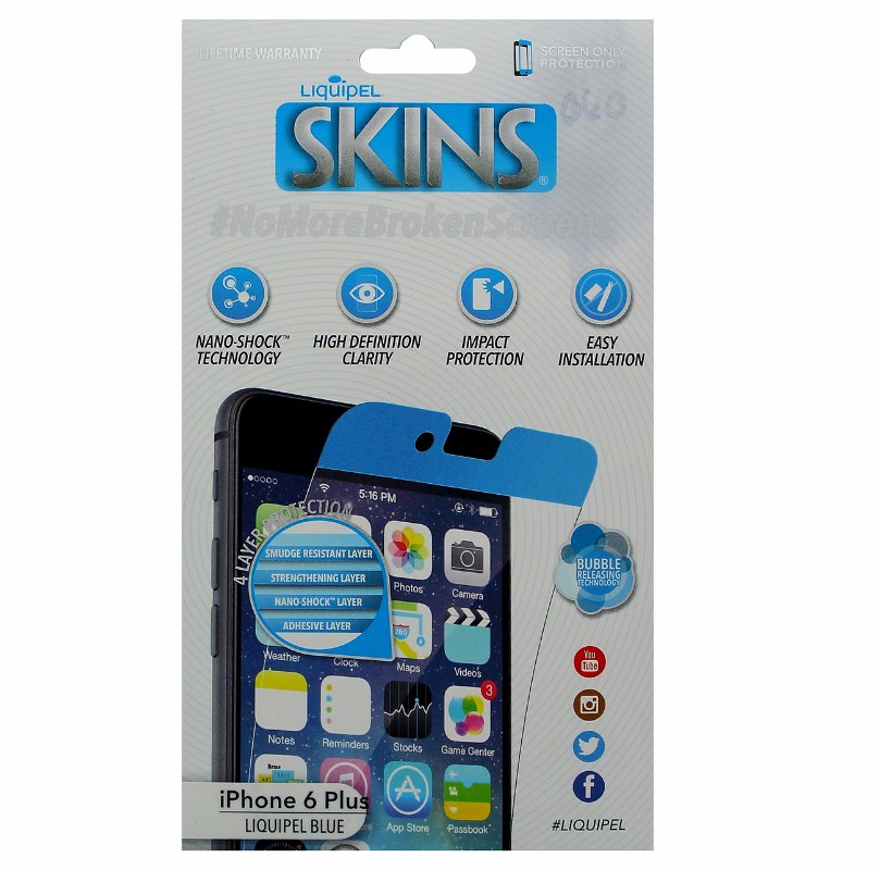 Liquipel SKINS Screen Protector for Apple iPhone 6 Plus/6s Plus-Blue
