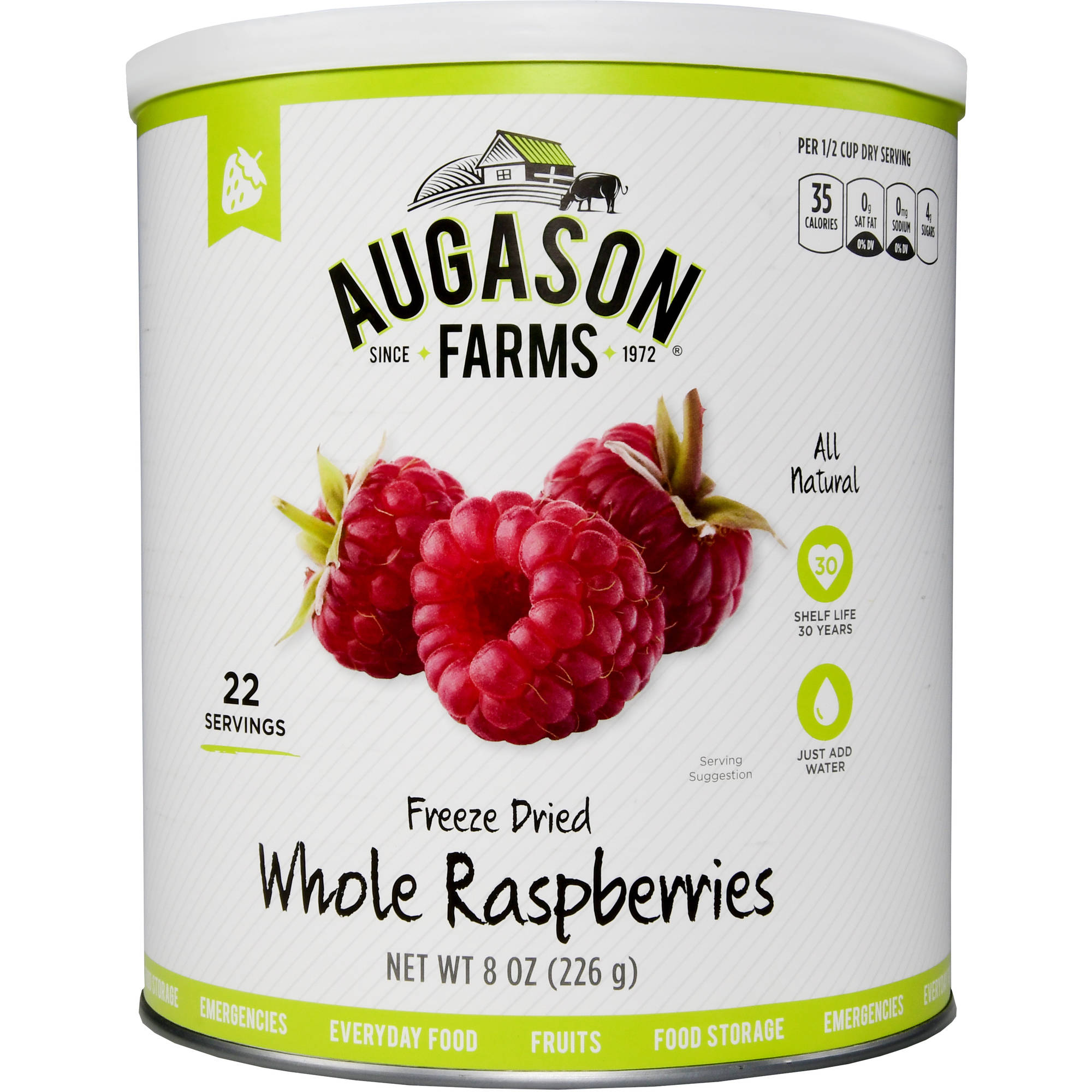 Augason Farms Emergency Food Freeze-Dried Whole Raspberries, 8 oz by Generic