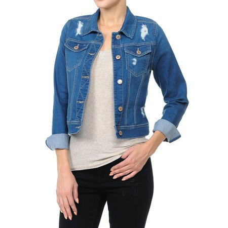 Women's Plus/Junior size Cropped Ripped Denim Jackets Long Sleeve Jean -