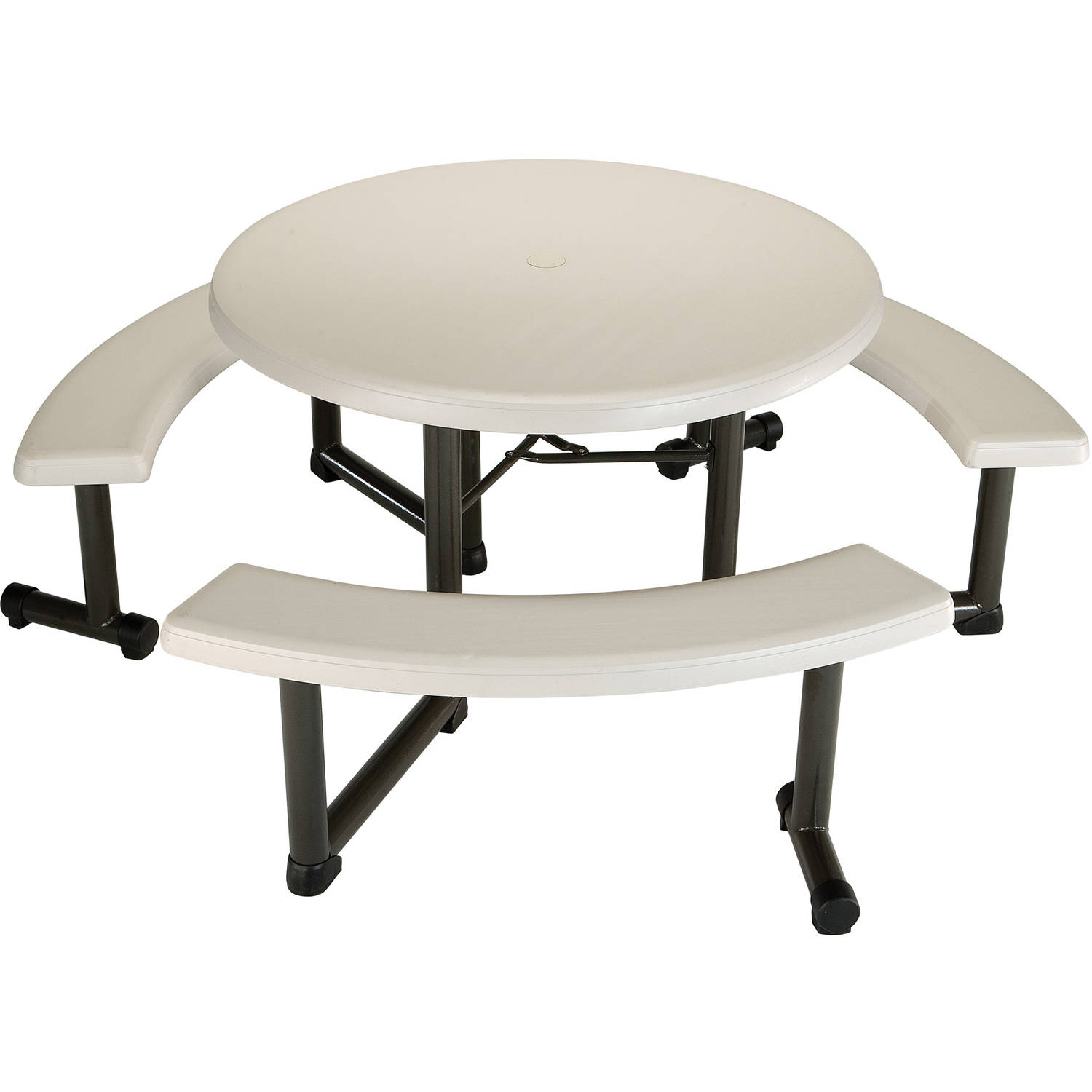 "Lifetime 44"" Round Picnic Table, Almond"