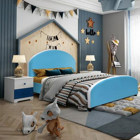 Costway Kids Children PU Upholstered Platform Wooden Bed Bedroom Furniture Blue (Upholstered Kids Furniture)