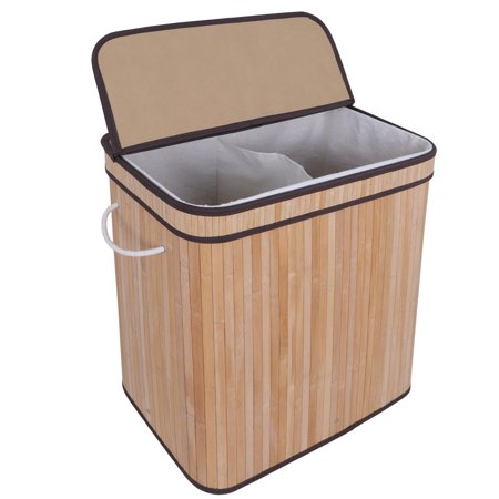 Zeny Divided Bamboo Laundry Basket Double Hamper With Lid Handles And Removable Liner Two Section