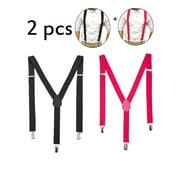DODOING Men's Y Shape Suspenders Casual Elastic Strap Brace 3 Clips Adjustable Pants Brace 4 Colors