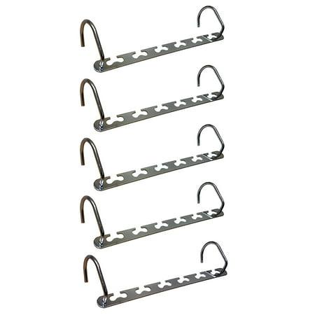 Metal Cascading Space Saving Closet Hangers  5pc Set (Flexible Metal Hangers)