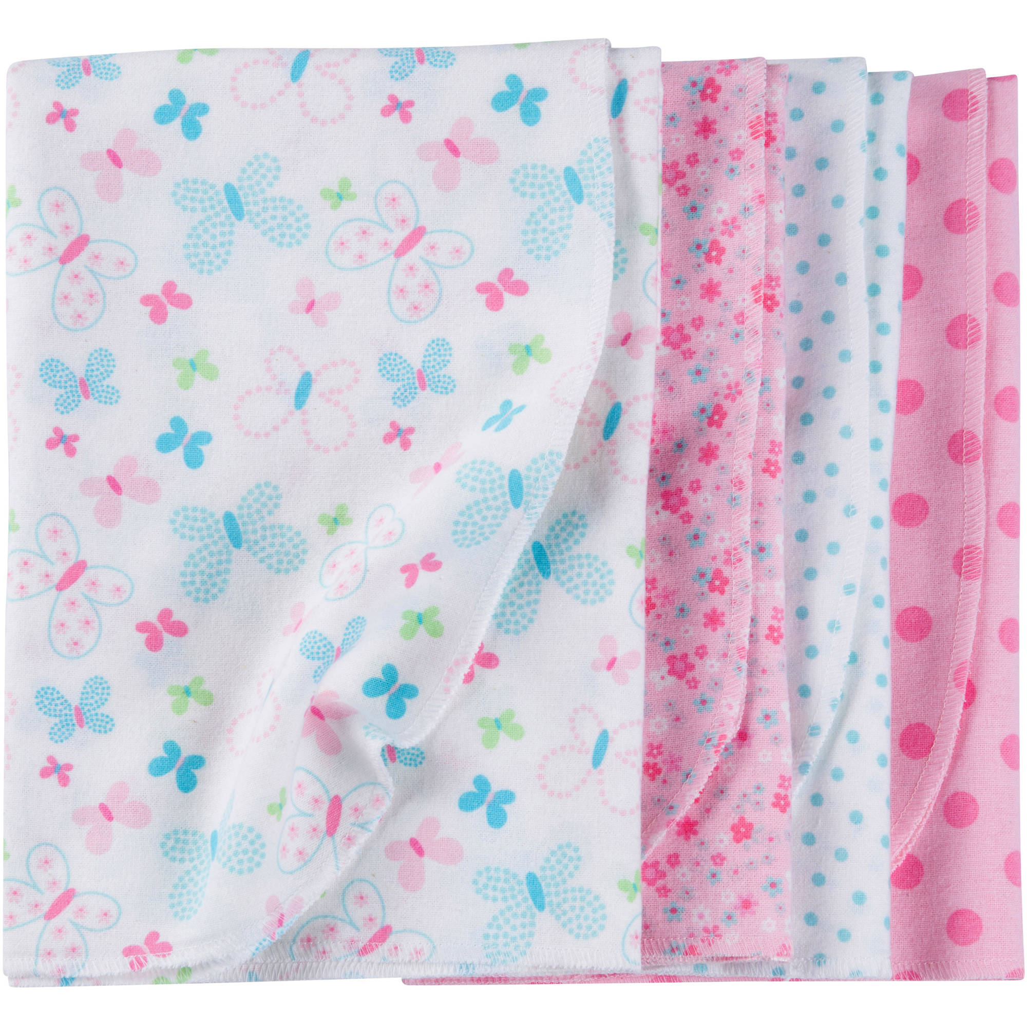 Gerber Newborn Baby Girl Flannel Receiving Blankets, 4-Pack