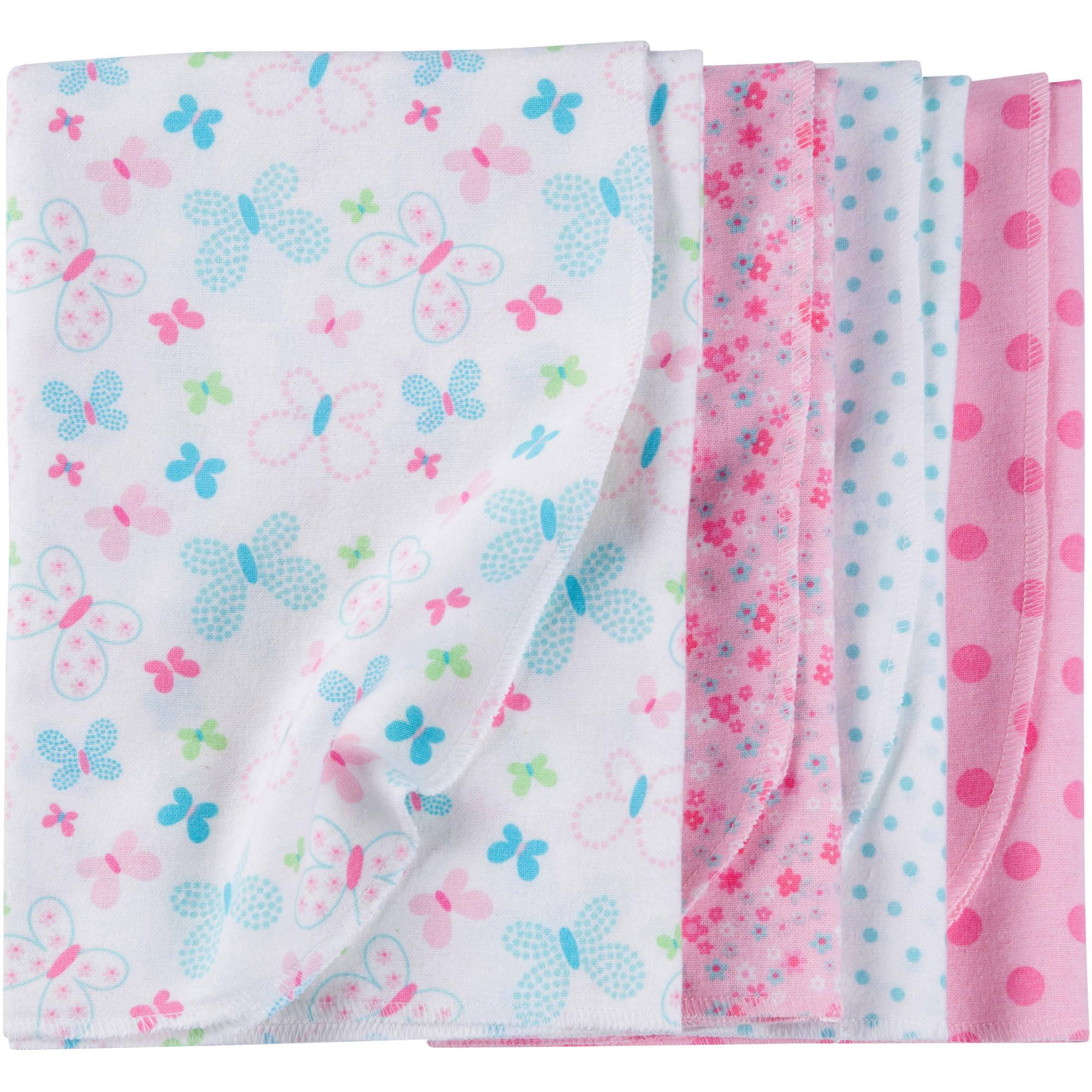 Gerber Newborn Baby Girl Flannel Receiving Blankets, 4-Pack