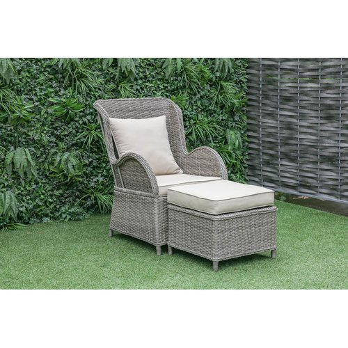 One Allium Way Silke Outdoor Patio Chair And Ottoman With Cushions