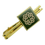 Celtic Knot Love Eternity Square Tie Bar Clip Clasp Tack- Silver or Gold