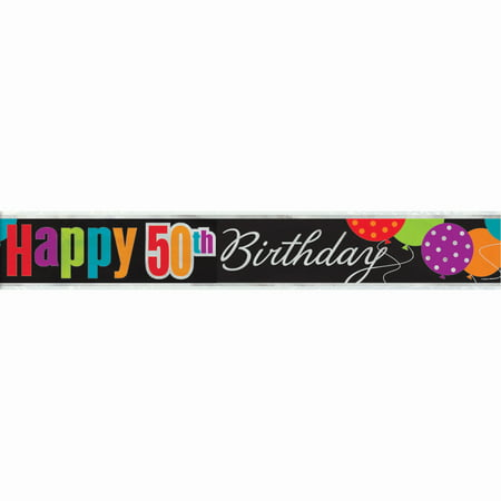 Birthday Cheer 50th Birthday Foil Banner, 12' - Happy 50th Anniversary Banner
