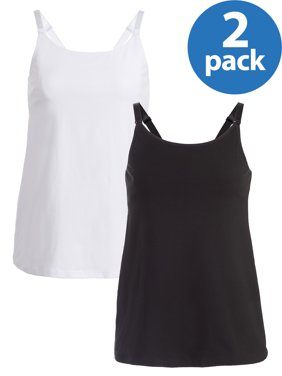 Maternity Loving Moments by Leading Lady Nursing Cami with Shelf Bra 2 Pack, Style L3013 - Available in Plus Sizes