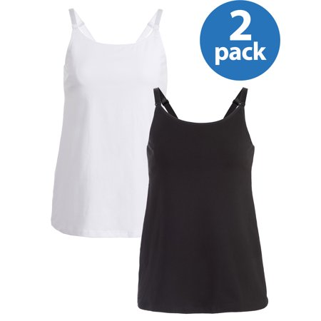 Maternity Loving Moments by Leading Lady Nursing Cami with Shelf Bra 2 Pack, Style L3019 - Available in Plus Sizes