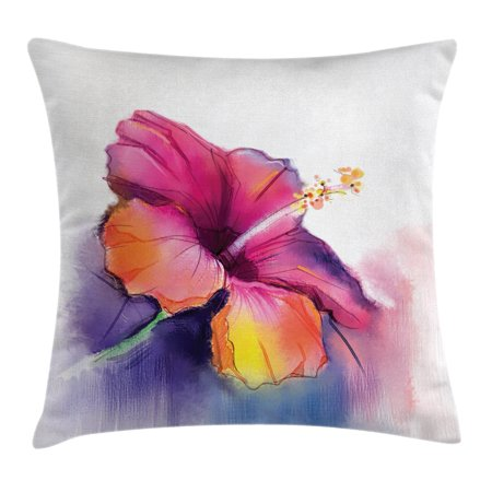 Watercolor Flower Home Decor Throw Pillow Cushion Cover, Hibiscus Flower in Pastel Abstract Romantic Petal Pattern, Decorative Square Accent Pillow Case, 16 X 16 Inches, Orange Purple, by Ambesonne