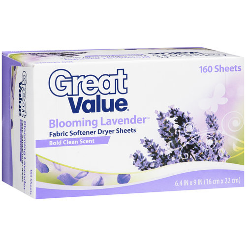 Great Value Blooming Lavender Fabric Softener Dryer Sheets, 160ct