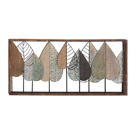 Rectangular Wood Wall (Decmode Natural Rectangular Metal And Wood Stylized Leaf Wall Decor, Multiple)