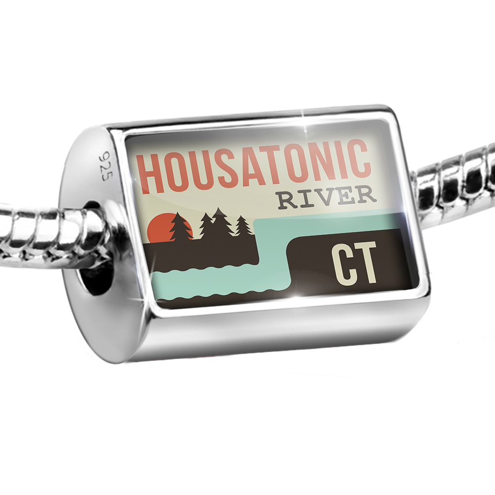 Sterling Silver Bead USA Rivers Housatonic River - Connecticut Charm Fits All European Bracelets