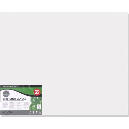 """Daler-Rowney Simply 20"""" x 24"""" Stretched Canvas Pack, 2 Piece"""