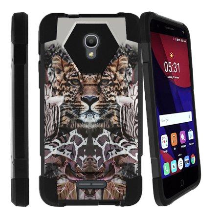 Alcatel One Touch Fierce 4 and Pop 4 Shock Fusion Heavy Duty Dual Layer Kickstand Case -  Zebra Leopard Illusion