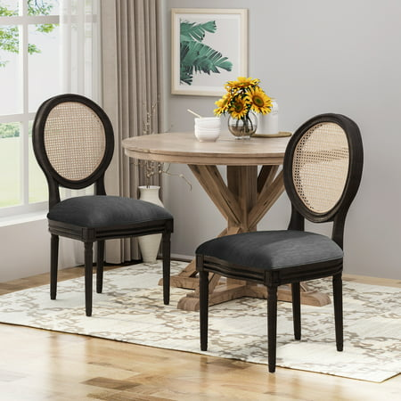 Laney Wooden Dining Chairs with Beige Cushions (Set of 2), Charcoal and Natural Finish ()