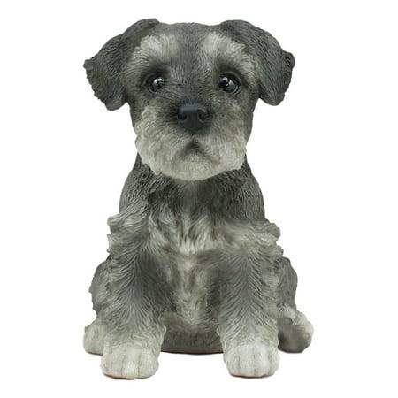 Ebros Realistic Miniature Schnauzer Puppy Statue 6.5
