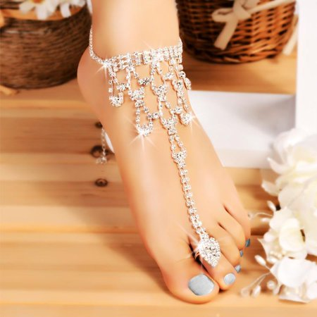 Hifashion Women Crystal Barefoot Sandals Beach Wedding Foot Anklet Decoration
