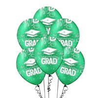 PMU Graduation Balloons 11 Inch PartyTex Premium Crystal Emerald Green with All-Over Print White Congrats-Grad Caps Pkg/12