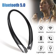 Wireless Bluetooth Headphones, TSV Portable Neckband Headset Noise Reduction Stereo Shocking Bass, Sports Sweatproof Earphones with Retractable Earbuds HD Mic Compatible with iPhone Samsung Huawei etc