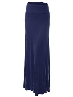MBJ Womens Fold-Over Maxi Skirt