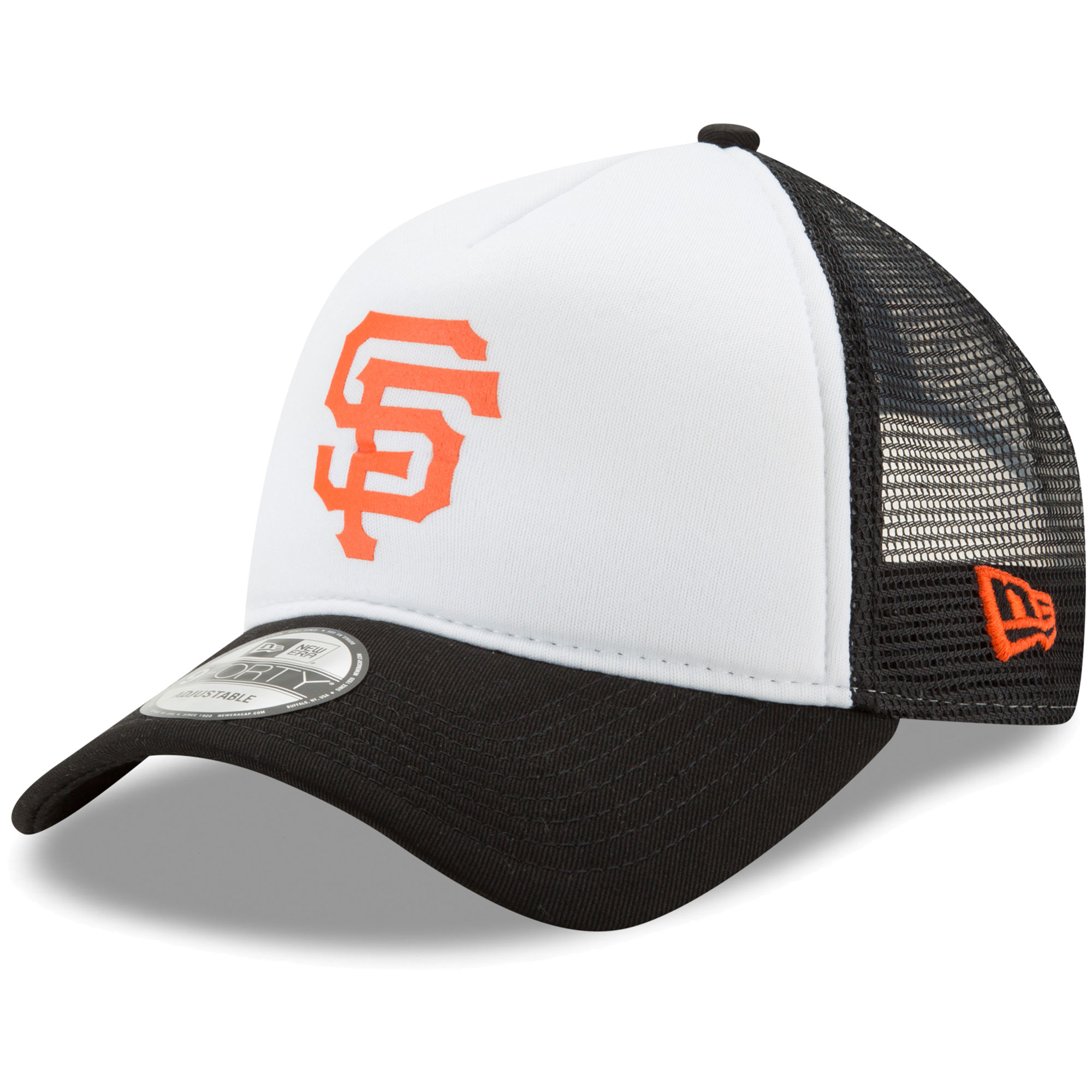 San Francisco Giants New Era Trucker Hit A-Frame 9FORTY Adjustable Snapback Hat - White/Black - OSFA