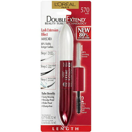 L'Oreal Paris Double Extend Beauty Tubes Lengthening Mascara, Black