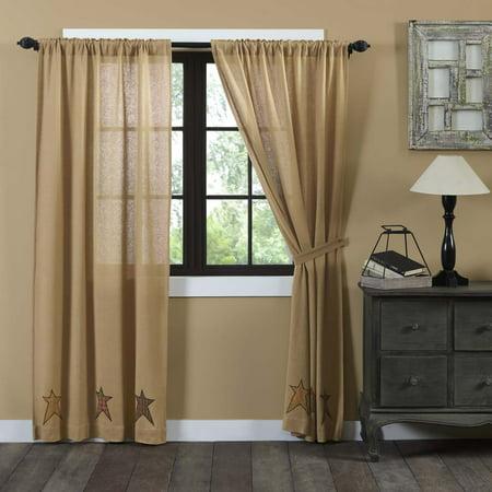 Natural Tan Primitive Curtains Sutton Burlap Star Rod Pocket Cotton Tie Back(s) Appliqued Cotton Burlap Star Panel Pair