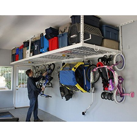 SafeRacks (2) 4x8 Overhead Garage Storage Racks Heavy Duty (24-45 Ceiling Drop) - White - Value Combo - Includes 18 Piece Accessory Hooks by